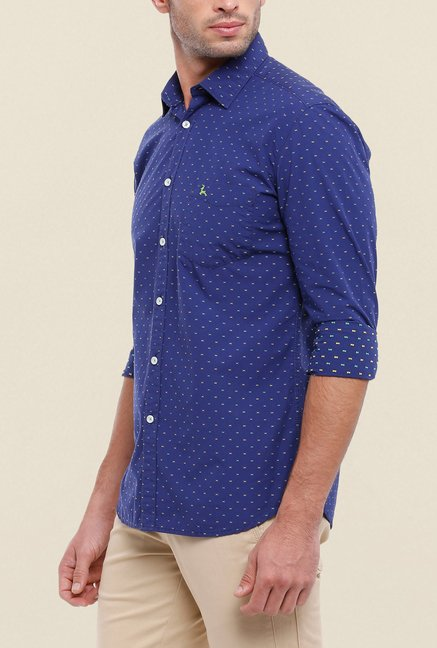 Parx Dark Blue Printed Shirt