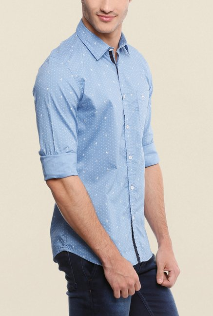 Parx Blue Printed Shirt
