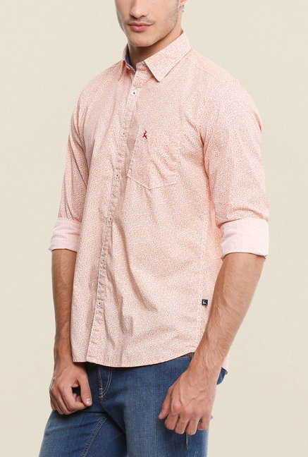 Parx Peach Printed Shirt