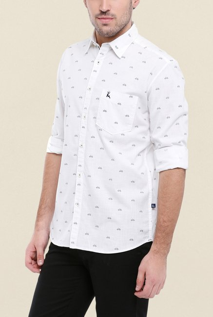 Parx White Printed Shirt