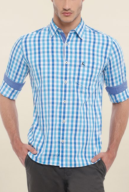Parx Light Blue Checks Shirt