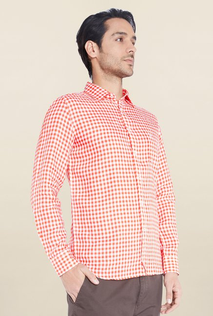 Parx Orange Checks Linen Shirt