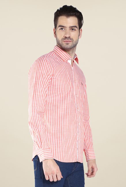 Parx Peach Striped Shirt