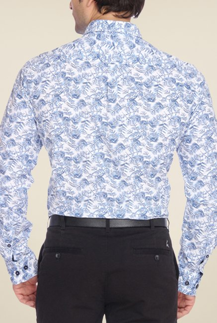 Parx White & Blue Printed Shirt