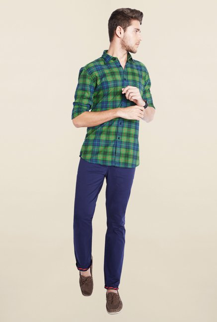 Parx Green & Blue Checks Shirt