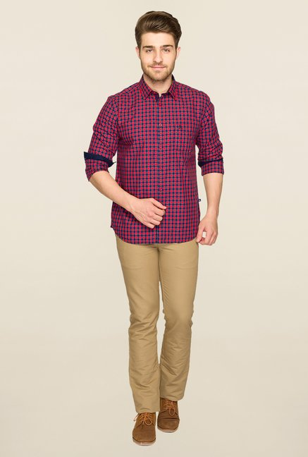 Parx Red & Navy Checks Shirt