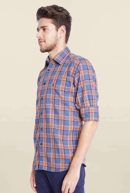 Parx Blue & Orange Checks Shirt