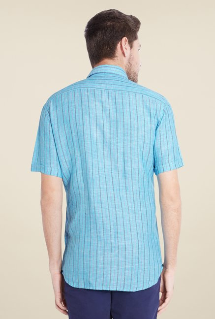 Parx Blue Striped Linen Shirt