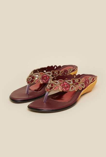 Metro Maroon Floral Beaded Ethnic Sandals