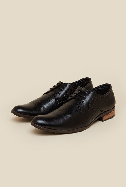 Metro Black Leather Lace Up Shoes