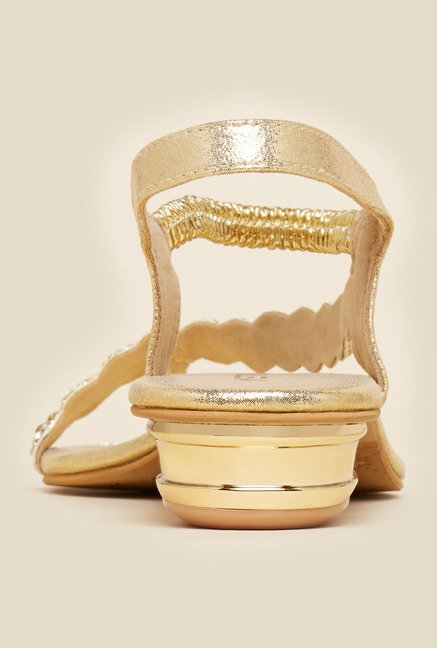 Metro Gold Asymmetric Strap Sandals