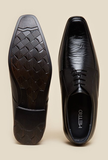 Metro Black Derby Lace Up Shoes