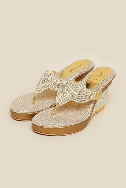 Metro Gold & Pearl Wedge Sandals