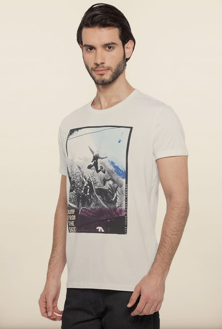 Spykar White Slim Fit T shirt