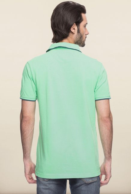 Spykar Green Cotton Solid T shirt