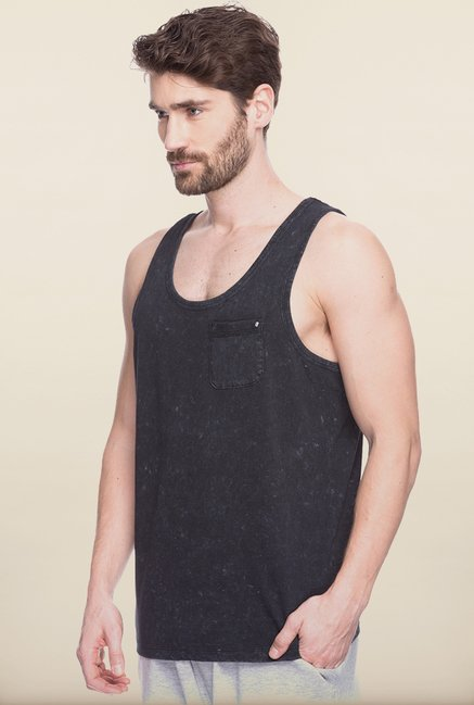 Spykar Black Solid Cotton Vest