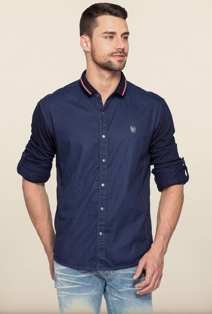 Spykar Navy Cotton Shirt