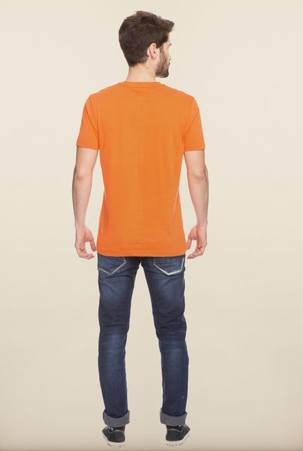 Spykar Orange Printed Slim Fit T shirt