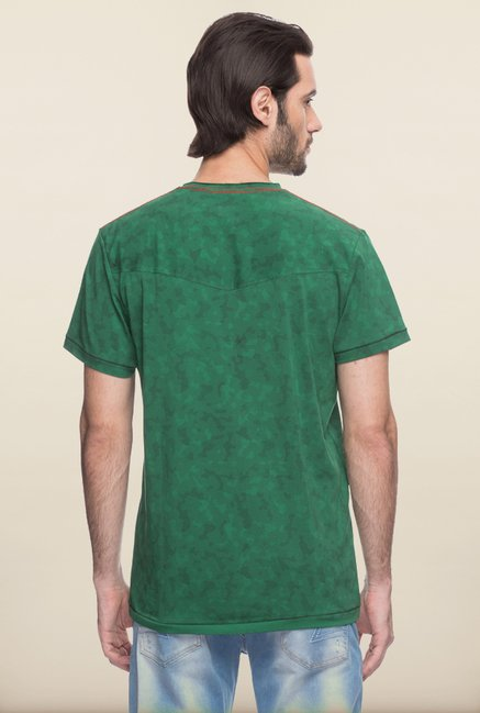 Spykar Green Printed T shirt