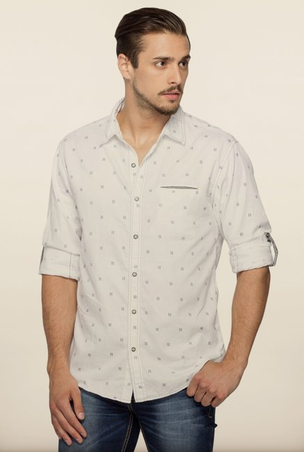 Spykar White Printed Shirt