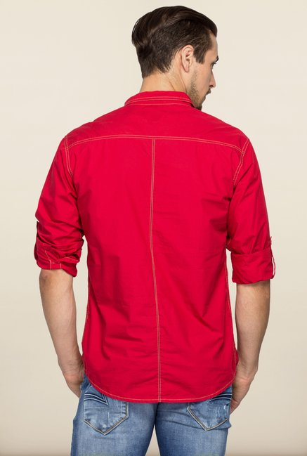 Spykar Red Regular Fit Shirt