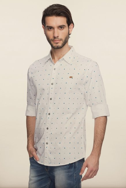 Spykar White Printed Cotton Shirt