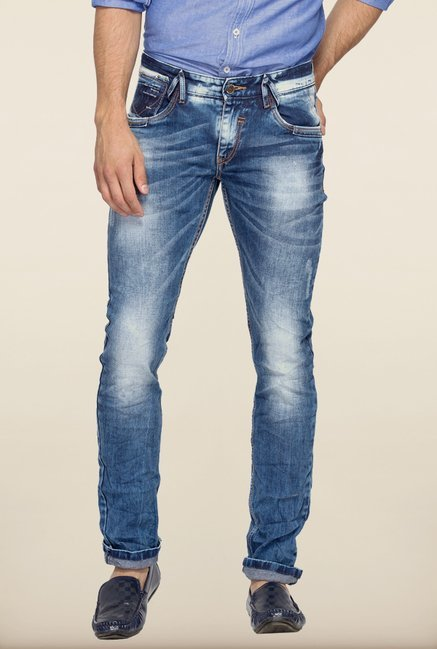 Spykar Blue Low Rise Denim Jeans