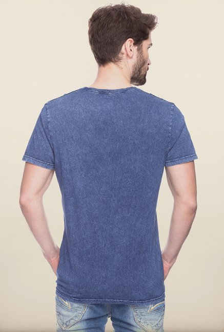 Spykar Indigo Printed Cotton T shirt
