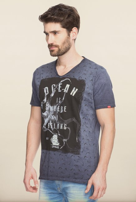 Spykar Grey Graphic Printed Slim Fit T shirt