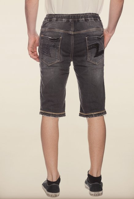 Spykar Black Washed Denim Shorts