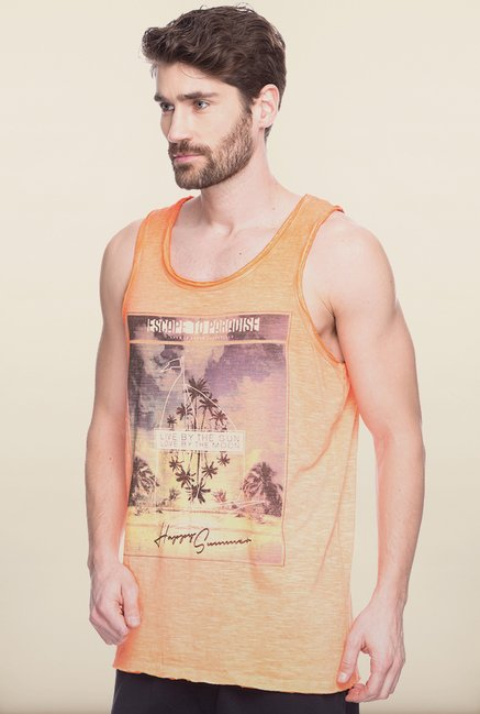 Spykar Orange Graphic Printed Vest
