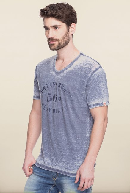 Spykar Grey Slim Fit T shirt