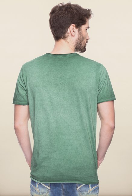 Spykar Green Graphic Printed T shirt