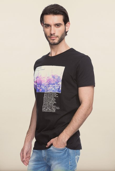 Spykar Black Printed Cotton T shirt