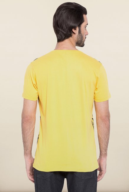 Spykar Yellow Printed T shirt