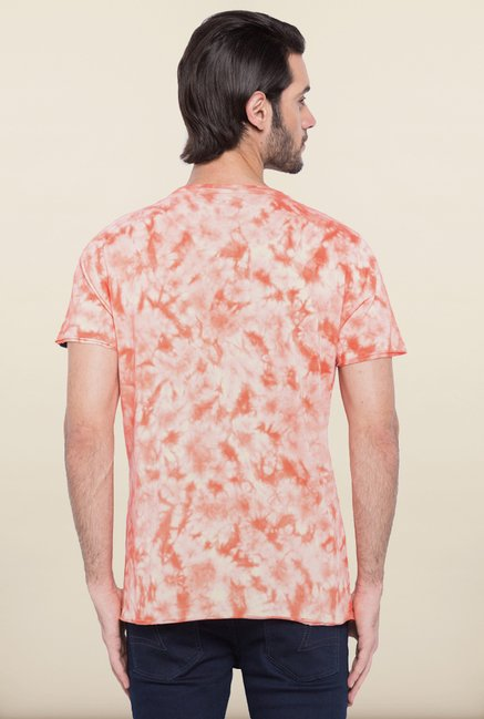Spykar White & Peach Printed T shirt