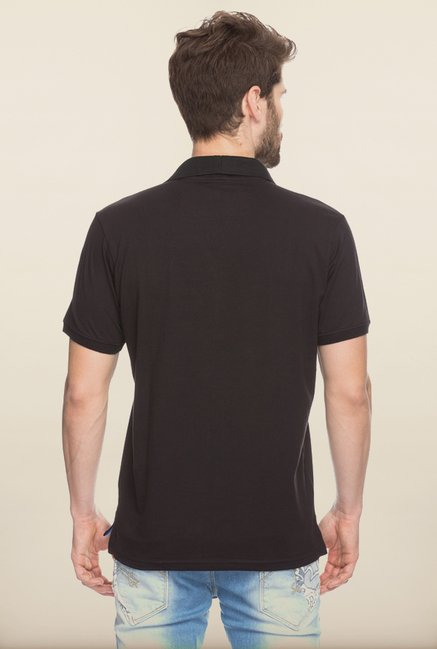 Spykar Black Cotton T shirt