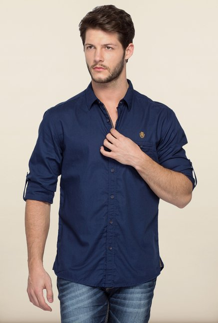 Spykar Navy Cotton Casual Shirt