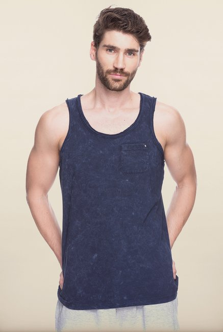 Spykar Navy Solid Slim Fit Vest
