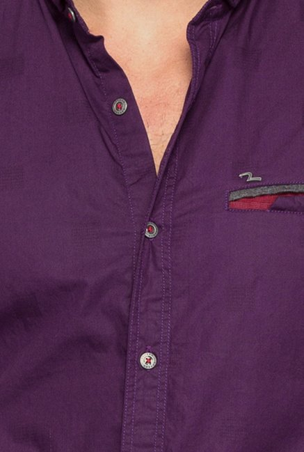 Spykar Purple Solid Cotton Shirt