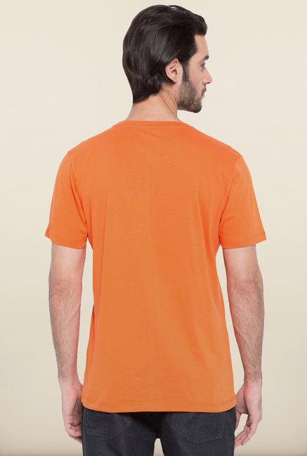 Spykar Orange Printed T shirt