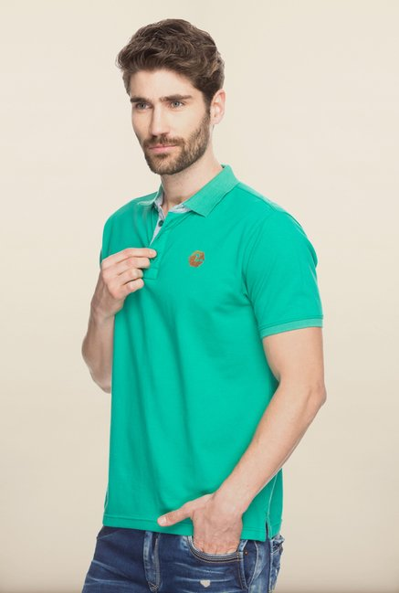 Spykar Green Polo T shirt