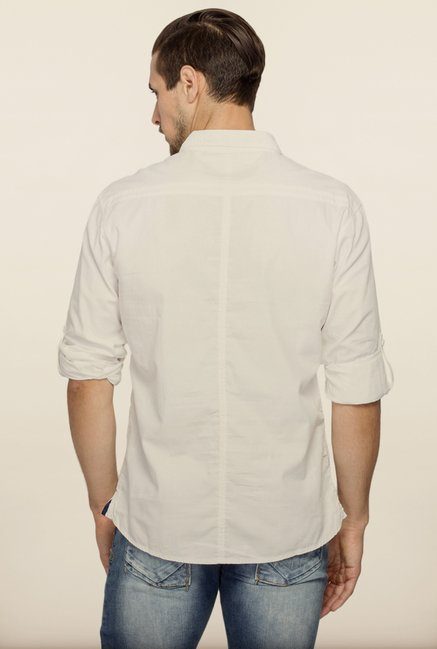 Spykar White Full Sleeve Shirt