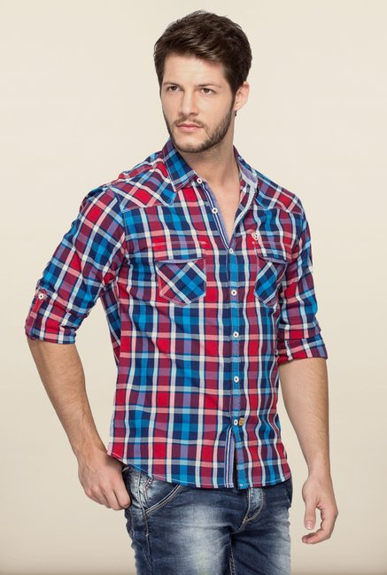 Spykar Red & Blue Checks Casual Shirt