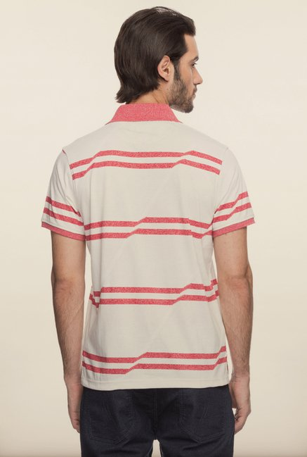 Spykar Off White Striped T shirt