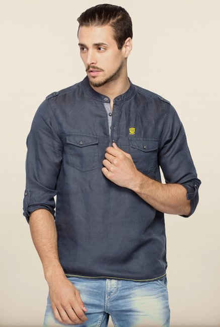 Spykar Grey Solid Cotton Shirt