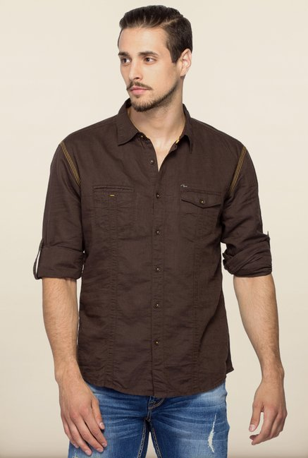 Spykar Chocolate Brown Solid Shirt