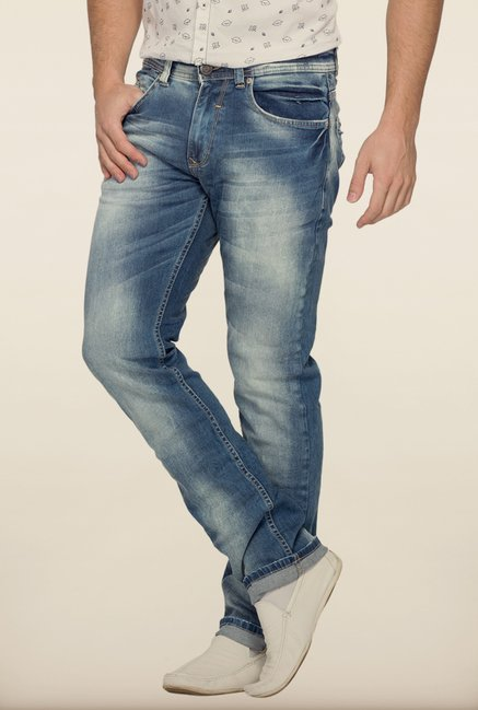 Spykar Blue Washed Slim Fit Denim Jeans