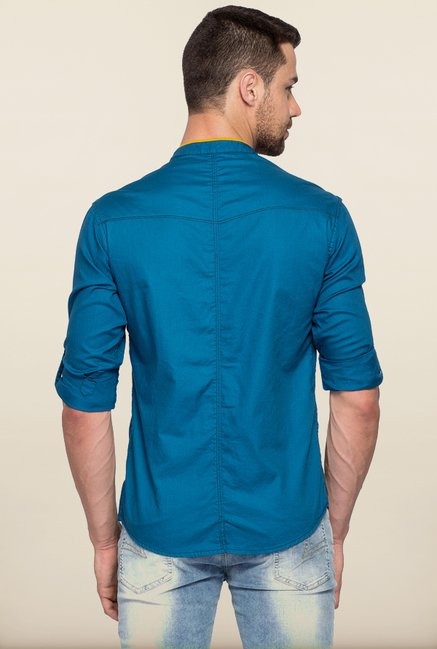 Spykar Blue Solid Casual Shirt