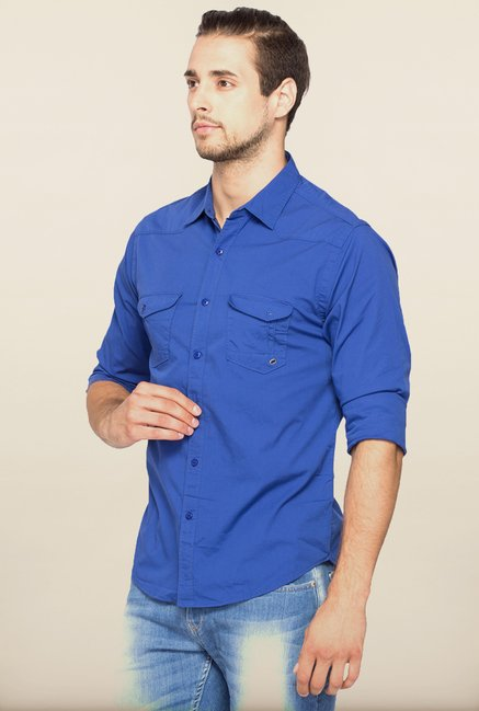 Spykar Royal Blue Solid Casual Shirt